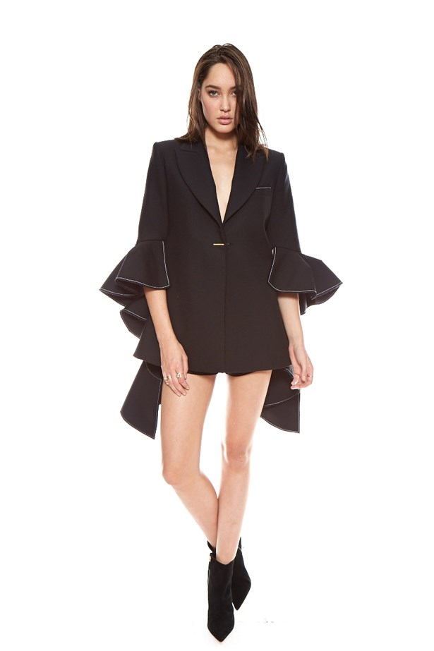 "<a href=""http://www.desordrestore.com/femme/buy-now/by-designer/ellery/majesty-ruffle-blazer"">Majesty Ruffle Blazer, $1,950, Ellery at desordrestore.com</a>"
