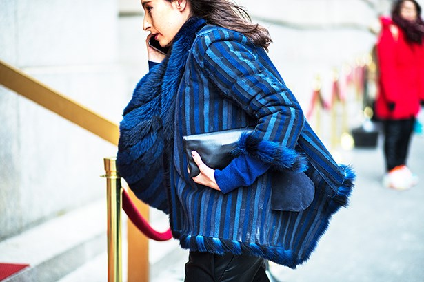 """The stripe trend translates fabulously via the perfect blue hues of this jacket."""