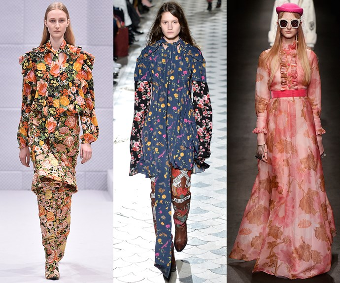 <strong>Flower child</strong><br><br> This season, florals <em>are </em>groundbreaking.<br><br> <em>L-R: Balenciaga, Vetements, Gucci</em>