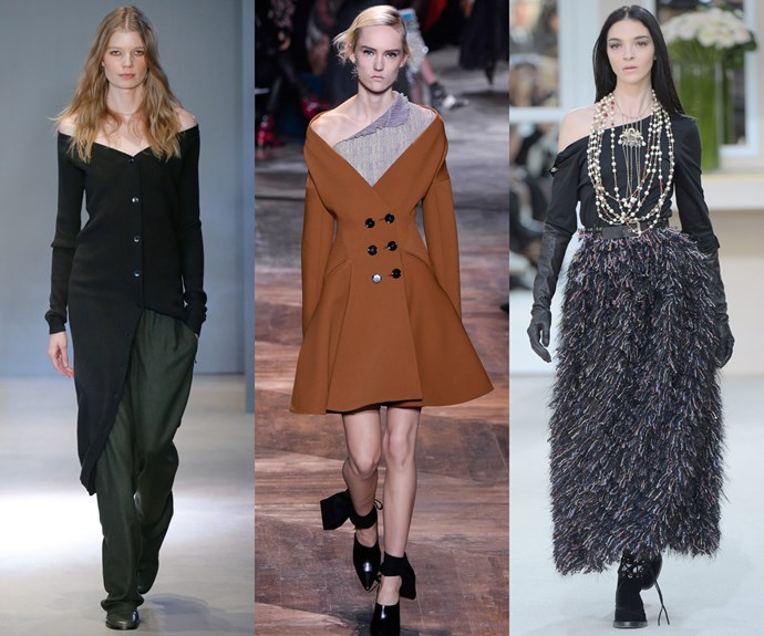 <strong>Shoulder charge</strong><br><br> This season, you have the right to bare shoulders. <br><br> <em>L-R: Tibi, Dior, Chanel</em>