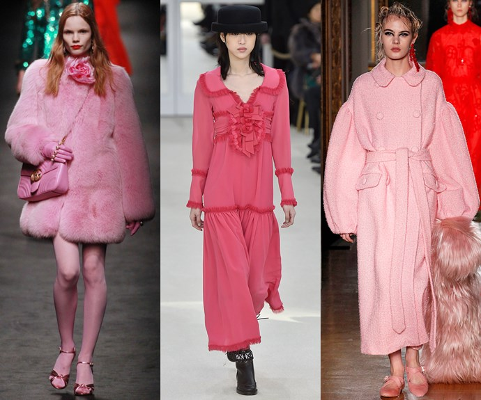 <strong>Pretty in pink</strong><br><br> The hue du jour next season? Pink, whether candy, sorbet or neon.<br><br> <em>L-R: Gucci, Simone Rocha, Chanel </em>