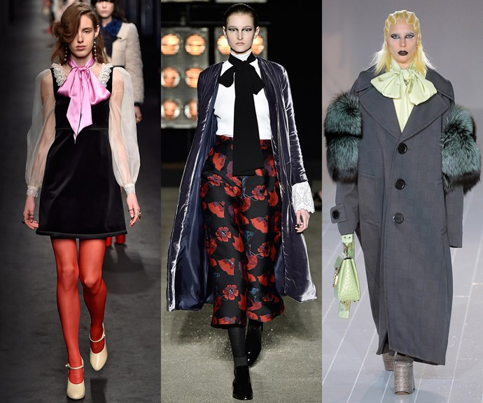 <strong>Bow down</strong><br><br> For AW16/17, an exaggerated pussybow is the cat's meow.<br><br> <em>L-R: Gucci, Osman, Marc Jacobs </em>