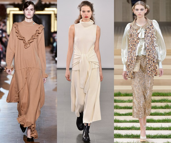 <strong>Neutral territory</strong><br><br> Going nude has never looked so good.<br><br> <em>L-R: Stella McCartney, Pringle Of Scotland, Chanel</em>
