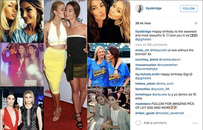 """Happy birthday to the sweetest and most beautiful G 🎂 love you lil sis @gigihadid"" <br><br> Instagram: <a href=""https://www.instagram.com/p/BEjqSlKv3xv/?taken-by=lilyaldridge"">@lilyaldridge </a>"