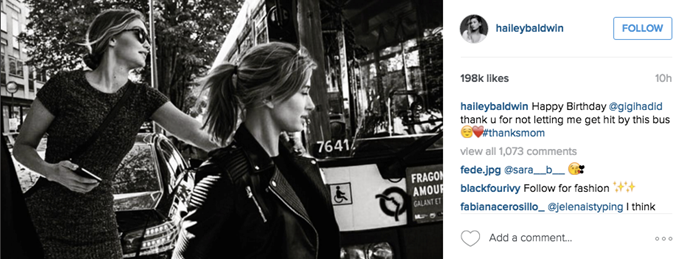 """Happy Birthday @gigihadid thank u for not letting me get hit by this bus 😌❤️ #thanksmom"" <br><br> Instagram: <a href=""https://www.instagram.com/p/BEirsAalDKF/?taken-by=haileybaldwin"">@haileybaldwin</a>"