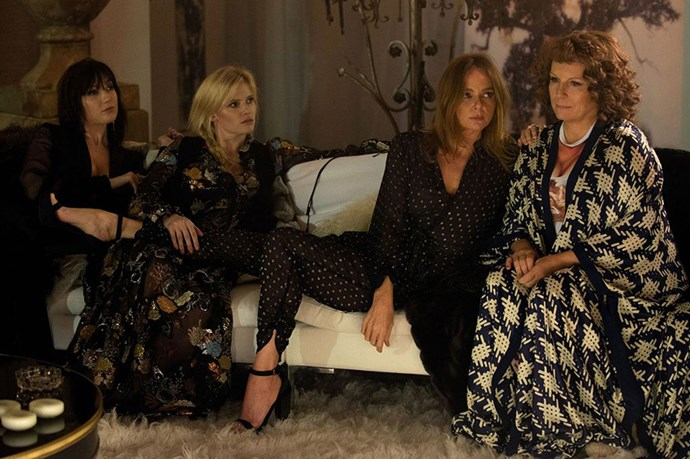 Daisy Lowe, Lara Stone, Stella McCartney and Jennifer Saunders (as Edina).