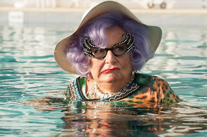 Australian comedian Barry Humphries as Dame Edna Everage.