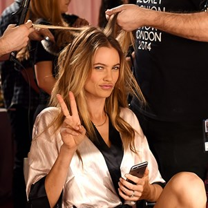 Behati Prinsloo backstage at the 2014 Victoria's Secret Fashion Show.