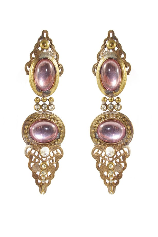 "<a href=""http://www.harlequinmarket.com/jewellery/earrings/vintage-rose-glass-cabochon-and-crystal-earrings-c-1970"">Vintage Rose Glass Cabochon and Crystal Earrings c. 1970, $220, Harlequin Market at harlequinmarket.com</a>"