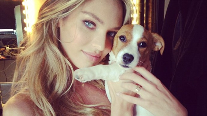 Candice Swanepoel with her dog Milo.