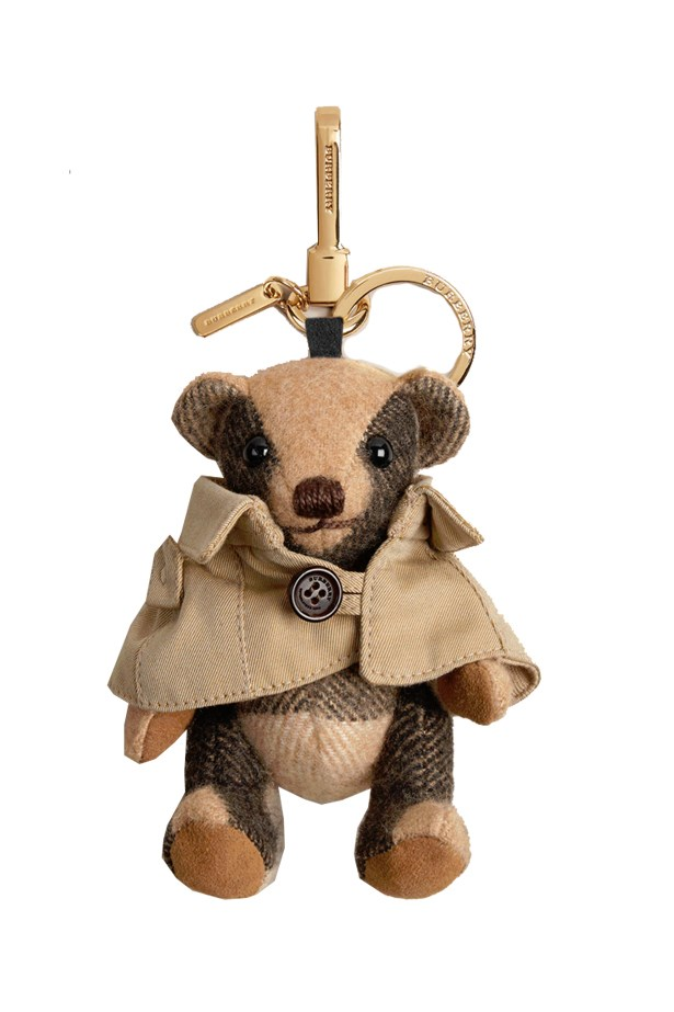 "<a href=""https://au.burberry.com/mr-trench-thomas-bear-charm-in-check-cashmere-p39975811"">Burberry Mr Trench Thomas Bear Charm</a>, $350."