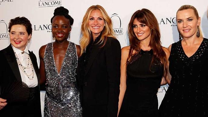 Lancome ambassadors Lupita Nyongo, Julia Roberts, Penelope Cruz, and Kate Winslet.