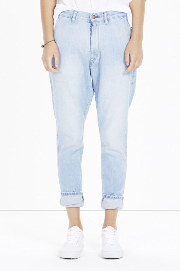 "<a href=""http://www.bassike.com/women/denim/beaten-blue-lo-slung-jean-aw15hd01-beatblu"">Lo Slung Jeans, $395, Bassike at bassike.com</a>"