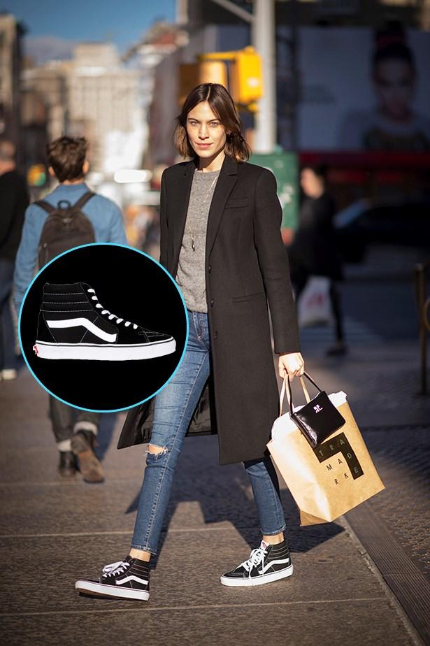 """<a href=""""http://www.generalpants.com.au/shop-mens/vans/footwear/old-skool-sk8-hi-sneakers-black-white-1000042030-008?gclid=CL2Awb_iwcwCFVgTvQodnFYBug"""">Vans Old Skool Sk8-Hi Sneakers</a>, $109.95 AUD."""