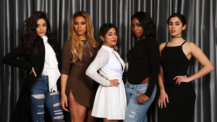 Camila Cabello, Dinah Jane Hansen, Ally Brooke, Normani Kordei and Lauren Jauregui of Fifth Harmony promote their single 'Work From Home' and new album '7/27' in London