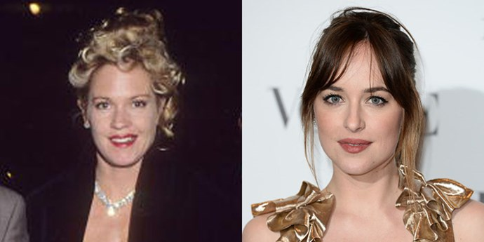 <strong>Melanie Griffith and Dakota Johnson</strong> <br><br> At 26 years old.