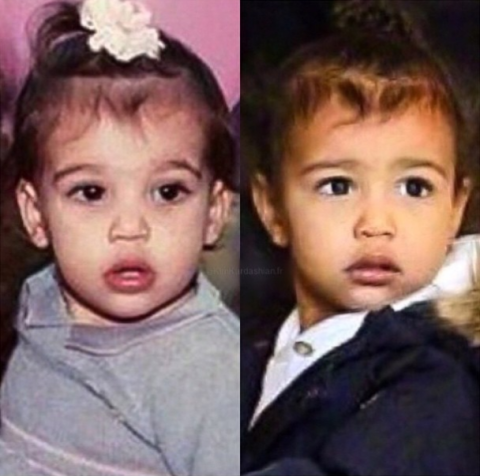 <strong>Kim Kardashian and North West</strong> <br><br> At 2 years old.