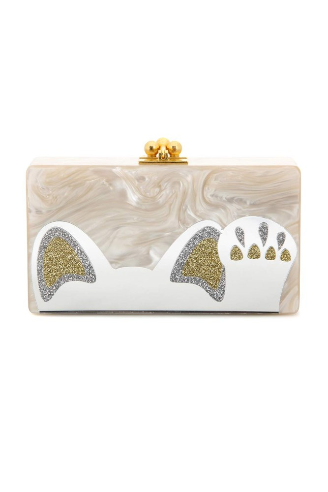 "<a href=""http://www.mytheresa.com/en-au/jean-beckoning-cat-box-clutch-544427.html"">Clutch, $2280, Edie Parker at mytheresa.com</a>"