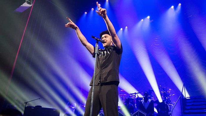 Justin Timberlake performs at L'Olympia in Paris in 2014.