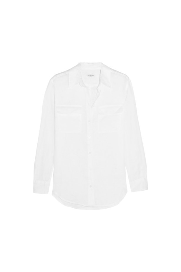 "Shirt, $324, <a href=""https://www.net-a-porter.com/au/en/product/675272/equipment/signature-linen-shirt"">Equipment</a>."
