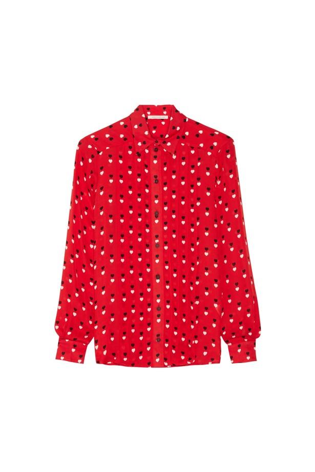 "Shirt, $1,225, <a href=""https://www.net-a-porter.com/au/en/product/649324/christopher_kane/printed-silk-shirt"">Christopher Kane</a>."