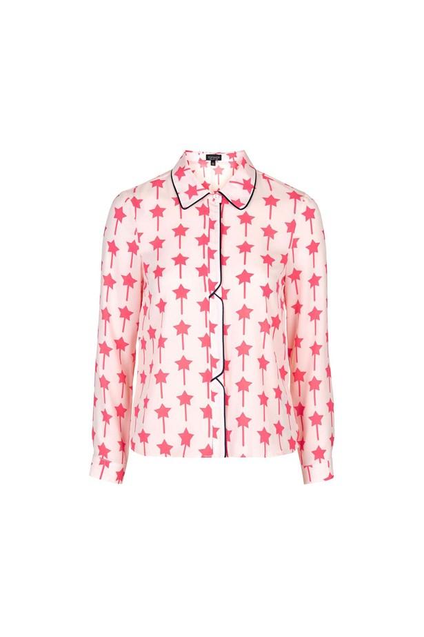 "Shirt, $74, <a href=""http://www.topshop.com/en/tsuk/product/clothing-427/tops-443/star-print-shirt-5340996?bi=60&ps=20"">Topshop</a>."