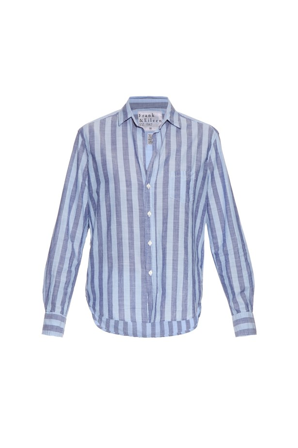 "Shirt, $337, <a href=""http://www.matchesfashion.com/au/products/Frank-%26-Eileen-Eileen-striped-cotton-chambray-shirt-1050579"">Frank & Eileen</a>."