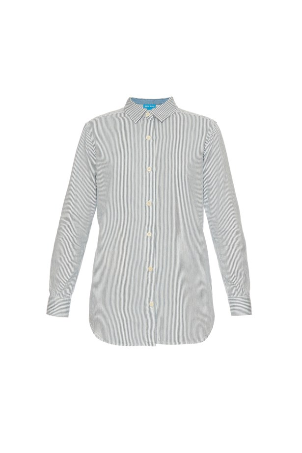 "Shirt, $355, <a href=""http://www.matchesfashion.com/au/products/M-i-h-Jeans--Point-collar-striped-shirt--1043637"">M.I.H Jeans</a>."