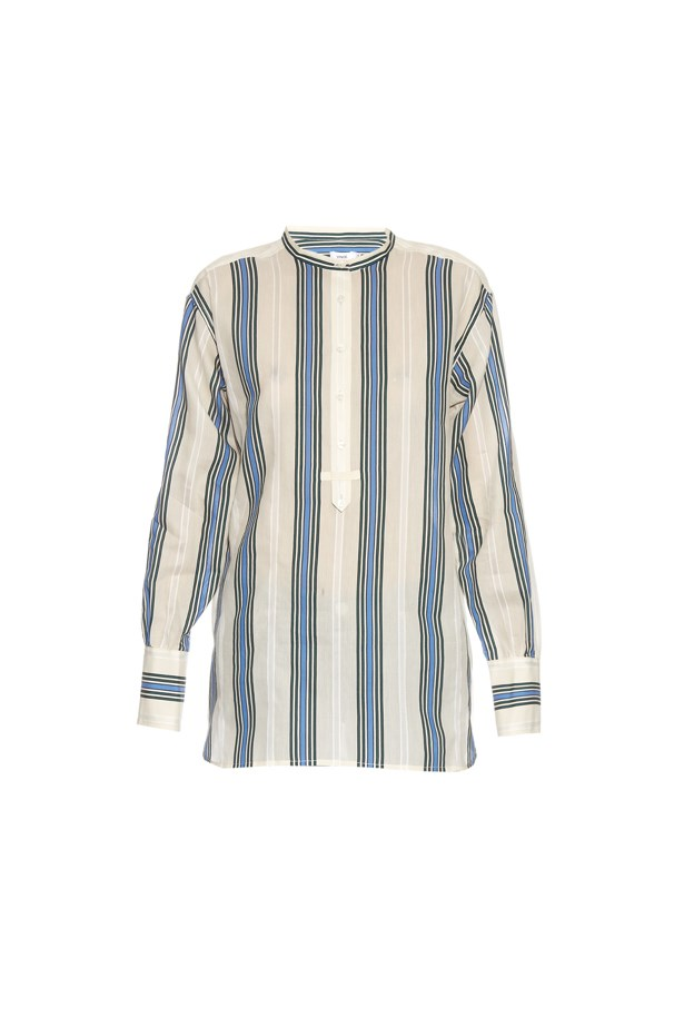 "Shirt, $419, <a href=""http://www.matchesfashion.com/au/products/Vince-Striped-cotton-and-silk-blend-shirt-1046465"">Vince</a>."
