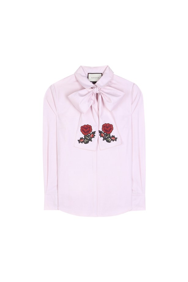"Shirt, $1,223, <a href=""http://www.mytheresa.com/en-de/pussy-bow-cotton-blouse-590181.html"">Gucci</a>."