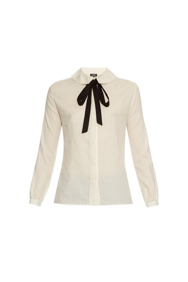 """Shirt, $325, <a href=""""http://www.matchesfashion.com/au/products/A-P-C--Tie-neck-link-print-cotton-shirt-1037536"""">A.P.C.</a>"""