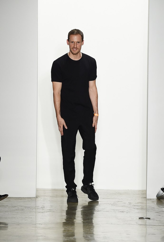 Designer Dion Lee on the runway in New York earlier this year