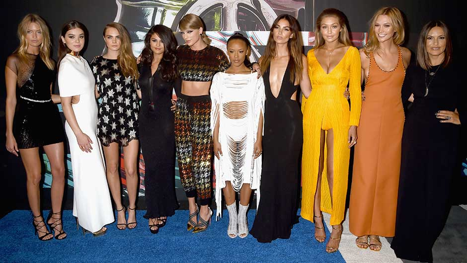 Models Gigi Hadid and Martha Hunt, actress Hailee Steinfeld, model Cara Delevingne, recording artists Selena Gomez and Taylor Swift, actress Serayah McNeill, model Lily Aldridge, actress Mariska Hargitay and model Karlie Kloss attend the 2015 MTV Video Music Awards
