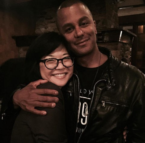 """Keiko Agena and Yanic Truesdale: """"Wrap cuddling @keikoagena. What a blessing to have been able to reconnect with my GG family. #gilmoregirls #netflix"""""""