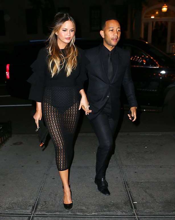 Chrissy stepped out with husband John for dinner last night wearing this sheer mesh skirt and she looked amazing—obviously.