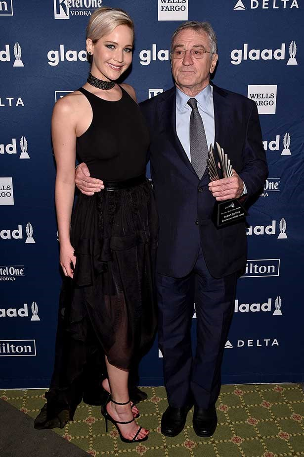 """</p><p>""""GLAAD and Bob have a lot in common – they're both gay,"""" she joked. </p><p> """"I was told by five different people to cut that [joke] and I was like, 'Hell no!'"""" she added. </p><p> The joke was well received by De Niro who smirked his signature smirk from the audience – and apparently considers Lawrence to be """"like a daughter"""" to him. </p>"""