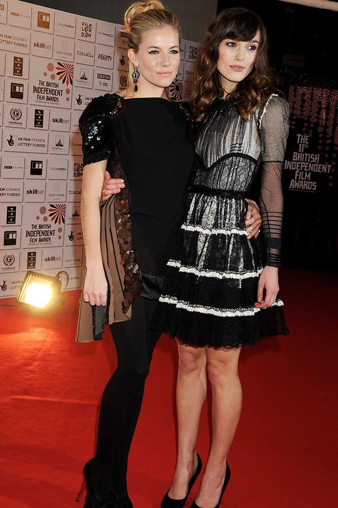 </P><p>Sienna Miller and Kiera Knightly.