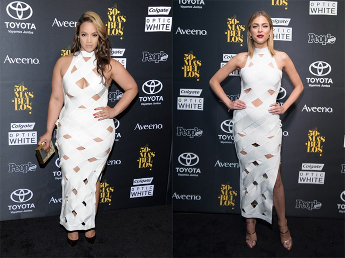 Apparently this white bandage House Of CB dress is the new black, according to OITNB's Dascha Polanco and Miss Venezuela Daniela Di Giacomo, who both wore it... to the same event. Both ladies were good sports about their match-up, though.