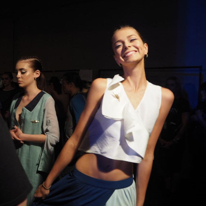 <strong>Day four</strong><br><br>Cheesy Alannah backstage at Yuxin.