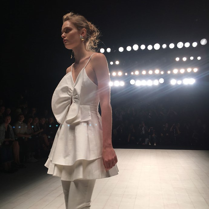 <strong>Day four</strong><br><br>Marthe on the runway at my first show of the morning, Cameo.