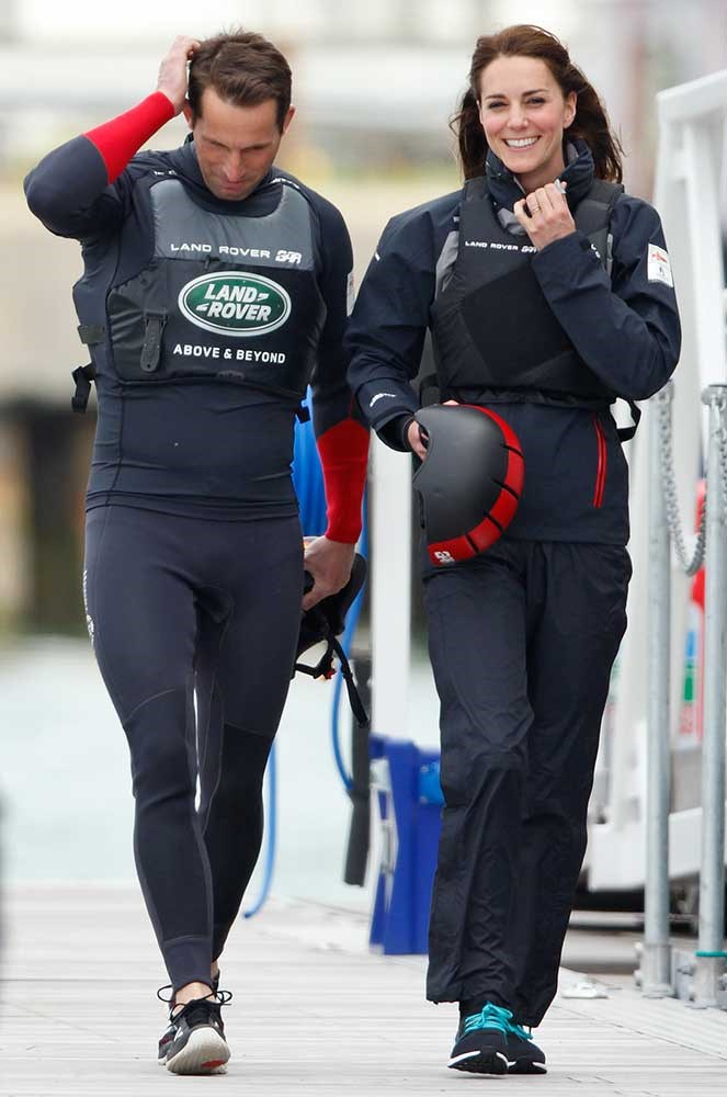 Sir Ben Ainslie and Catherine, Duchess of Cambridge prepare to board a Land Rover BAR team training catamaran before running a training circuit on the Solent on May 20, 2016 in Portsmouth, England.