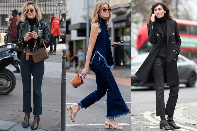 L-R: Bloggers Adénorah and Carmen Hamilton; <em>Vogue </em>Paris editor Emmanuelle Alt.