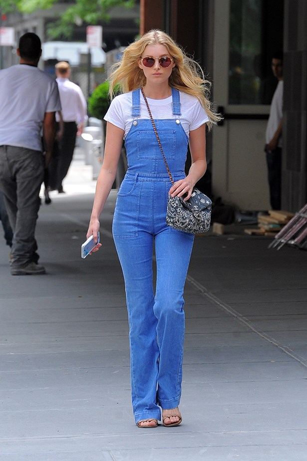 Elsa Hosk <p> <p> One of Victoria's Secret newest Angels put together a classic summer outfit in NYC, with a crisp white shirt, blue overalls and, of course, a quilted Chanel to top it off.