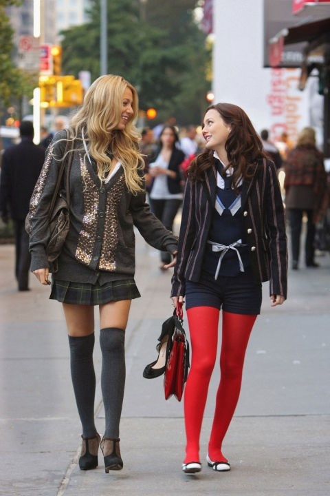 This daring red-tights-under-shorts feat.