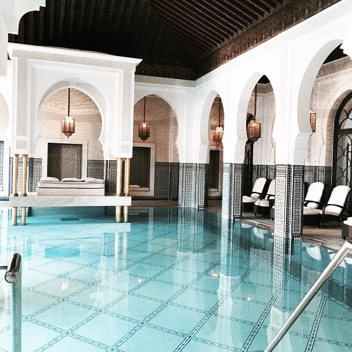 The pool at Hotel Mamounia in Marrakesh, Morocco