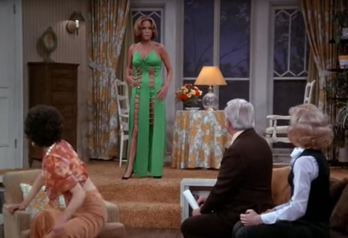 "<p><strong>MARY TYLER MOORE, 1975</strong><p><p> In the fifth season of <em>The Mary Tyler Moore Show</em>, Moore's character Mary Richards <a href=""https://www.youtube.com/watch?v=PpE7ZiBCyd8"">wears a green dress</a> designed by a friend (a former prostitute). Upon seeing Mary in the revealing cutout dress, the live audience responded with shrieks and cheers. Mary's friend Ted Baxter says, ""Get me a glass of water,"" because ~thirst~. Mary thinks it looks horrible, Ted thinks it looks fantastic. Whatever the case, the dress was certainly memorable."