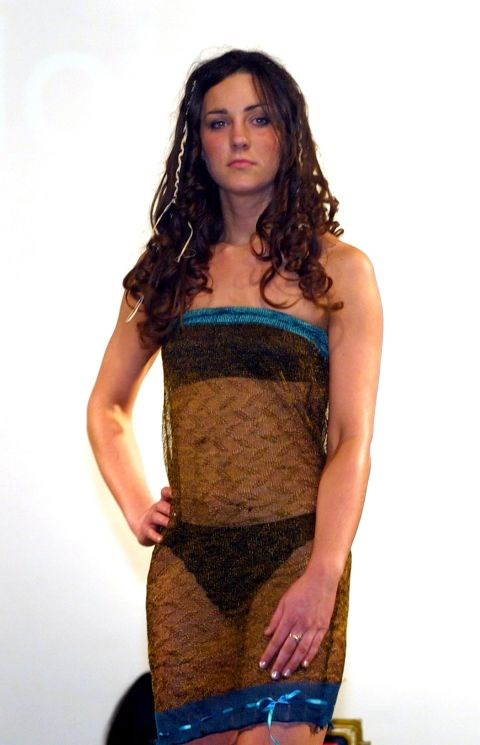 <p><strong>KATE MIDDLETON, 2002</strong><p><p> Kate Middleton wore this dress when she participated in a charity fashion show as a student at St. Andrews. As the story goes, Prince William was in the audience and fell for Kate when he saw her walk down the runway in this transparent design by Charlotte Todd.