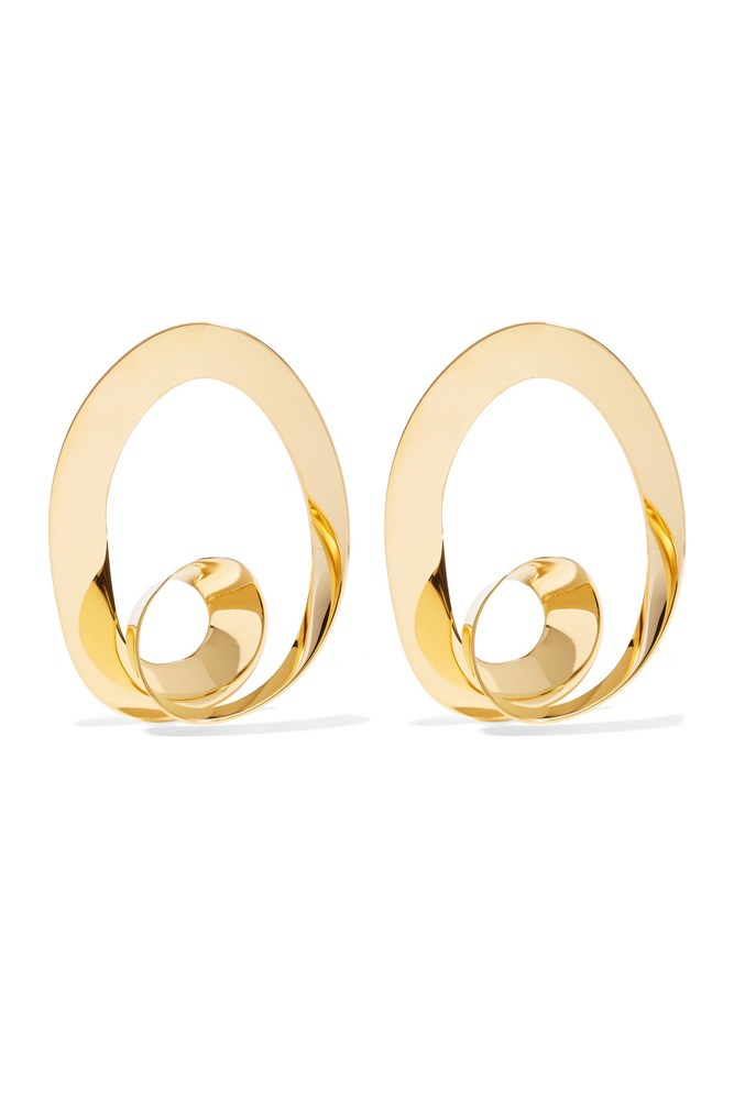 "<a href=""https://www.net-a-porter.com/au/en/product/682304/marni/gold-plated-hoop-earrings"">Earrings, $490, Marni at net-a-porter.com</a>"