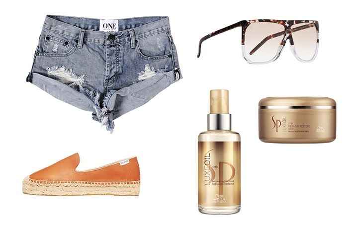 <p><strong>Sheree's Mykonos Essentials</strong> <p> Big shades are a must at the beach clubs. Sunglasses, $595, Loewe, net-a-porter.com <p> Denim cut-offs for heading from the lounge to dinner. Shorts, $99, One by One Teaspoon, oneteaspoon.com.au <p> These were made for navigating cobblestone streets. Espadrilles, $99, Soludos, soludos.com <p> This is great for repairing sun-damaged hair, and it's travel sized. LuxeOil Reconstructive Elixir, $45, Wella System Professional, 1800 889 886 <p> A multi-takser that doubles as a conditioner while im on the road. LuxeOil Keratin Restore Mask, $38, Wella System Professional, 1800 889 886</p> <p>