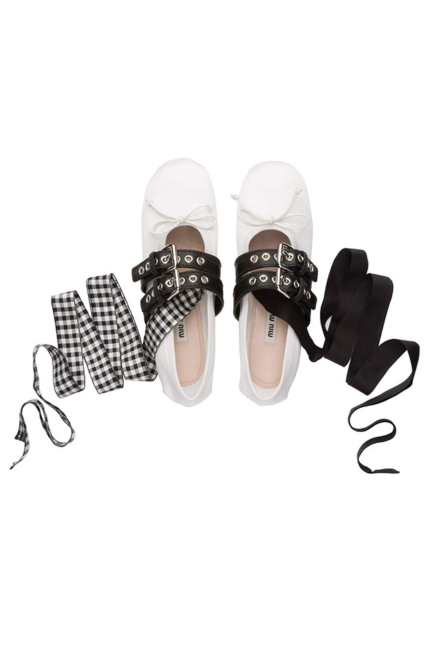 "<a href=""http://store.miumiu.com/en/AP/dep/shoes/cat/ballerinas/product/5F466A_3H36_F0964_F_005"">Miu Miu ballerina flats with ribbon ties, $865,  miumiu.com</a>"
